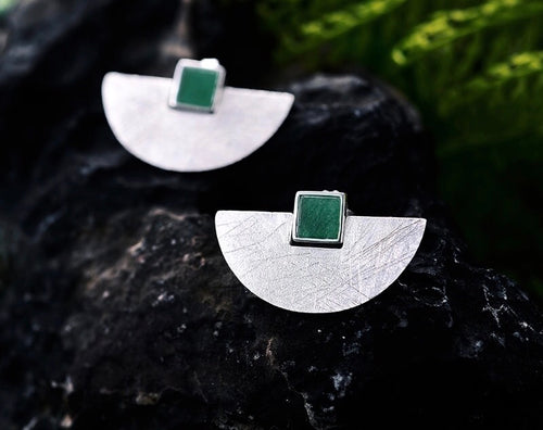 HALFMOON -STERLING SILVER STUD EARRINGS