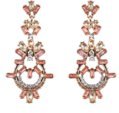 TALLIA- PEACH PINK CRYSTAL DANGLE EARRINGS