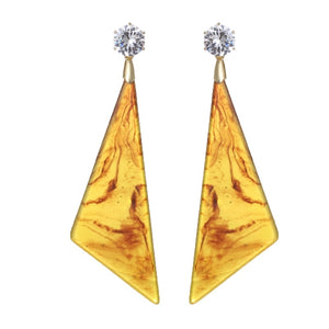 TROIA-MARBLE LOOK ACRYLIC EARRINGS- CAMEL/MUSTARD