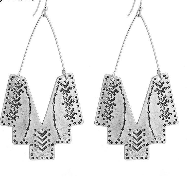 PHAROH- RAW SILVER DROP EARRINGS