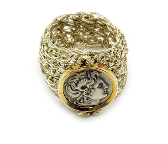 VASSO GALATI- DIONYSUS GOLD/METAL THREAD RING
