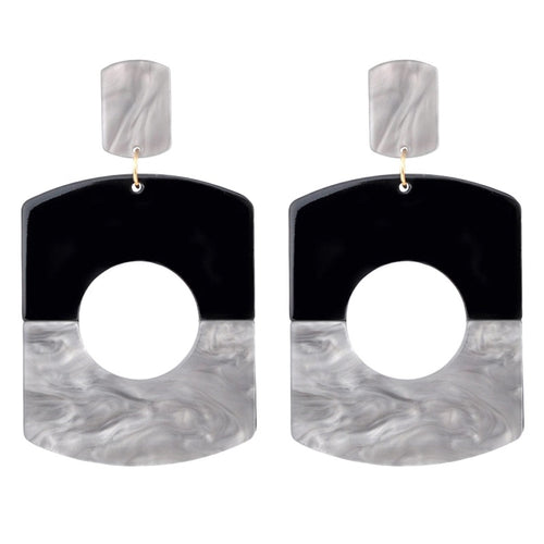 OLE- ACRYLIC DANGLE EARRINGS BLACK/GREY