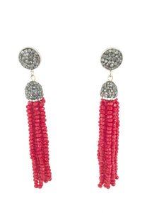 MOINETTE- CRYSTAL AND RHINESTONE EARRINGS -RED