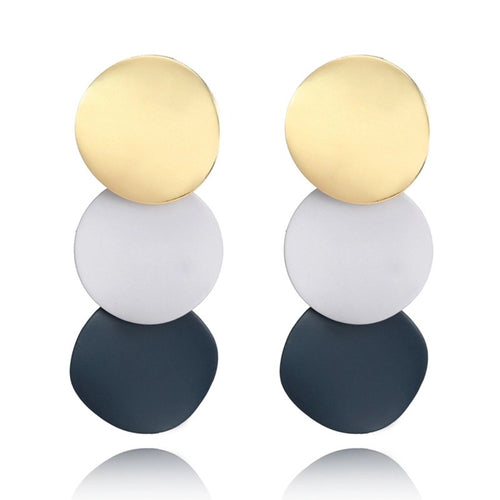 TRIO- COLOUR METAL DISC EARRINGS
