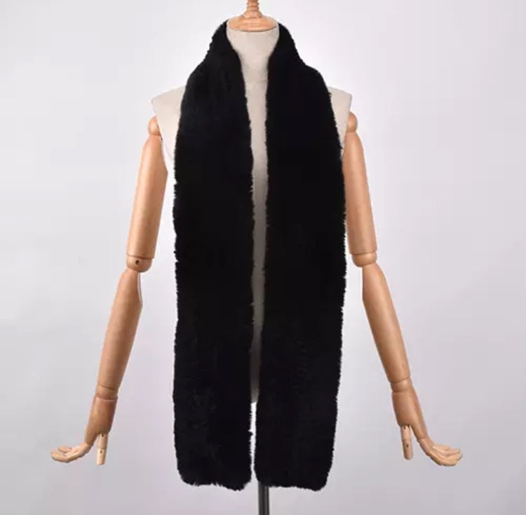 RABBITO- Rex Rabbit fur long scarves- BLACK