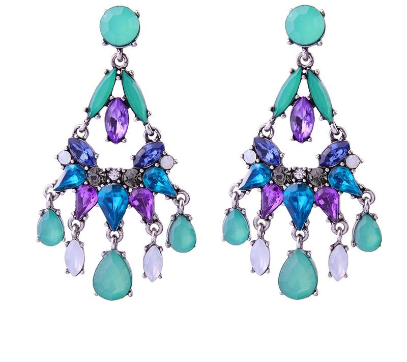 SALE ITEM- MULTI COLOUR TASSEL CRYSTAL EARRINGS