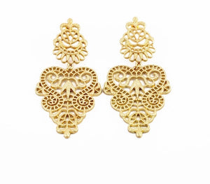 RHEA- GOLD CHANDELIER LACE EARRINGS