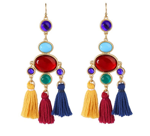 SIESTA- COLOURFUL TASSEL EARRINGS