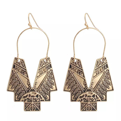 PHAROH- RAW GOLD HOOK EARRINGS