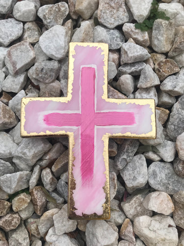 LEEMYSOUL RESIN CROSS- PINK/GOLD FOIL