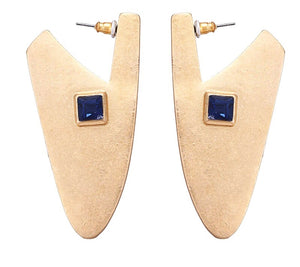 CLEOPATRA- GEOMETRIC BLUE RHINESTONE EARRINGS