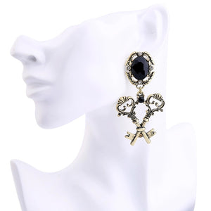 ERIS- BLACK GEM METAL KEY EARRINGS