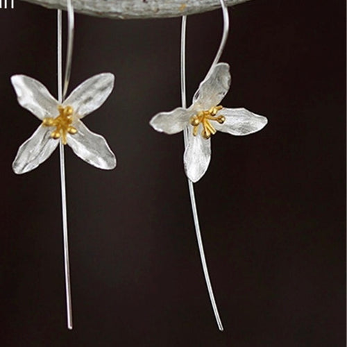 JASMINE- STERLING SILVER/GOLD PLATED DROP EARRINGS
