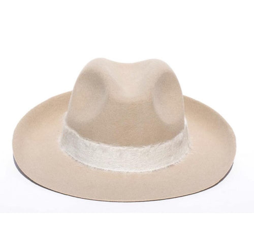 FEDORA- WOOL/RIBBON UNISEX HAT- CREAM