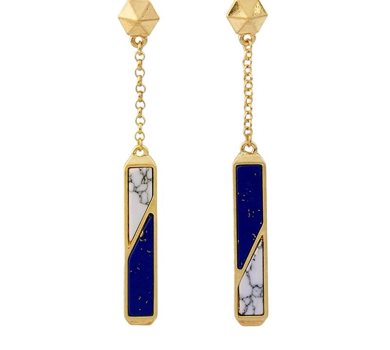 HELLENE- WHITE AND BLUE STONE LOOK DANGLE EARRINGS