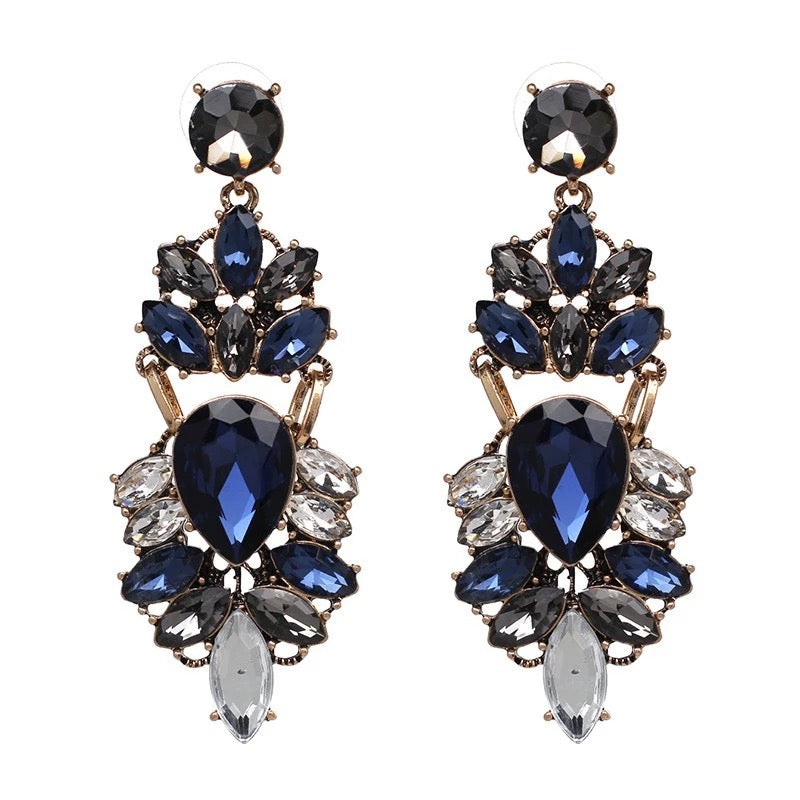 LENA- RHINESTONE CHARM EARRINGS- NAVY/CLEAR