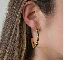 STELLA- GLASS STONE SEMI HOOP BIANC EARRINGS