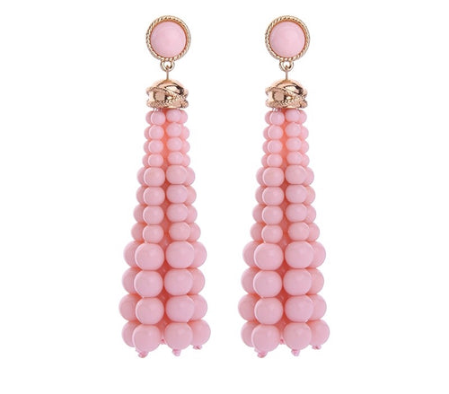 TIFFANY-TASSEL LONG EARRINGS-PINK