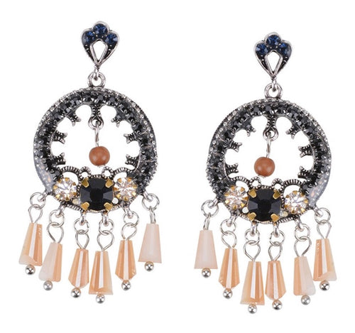 MALLAE-HOLLOW CRYSTAL TASSEL EARRINGS
