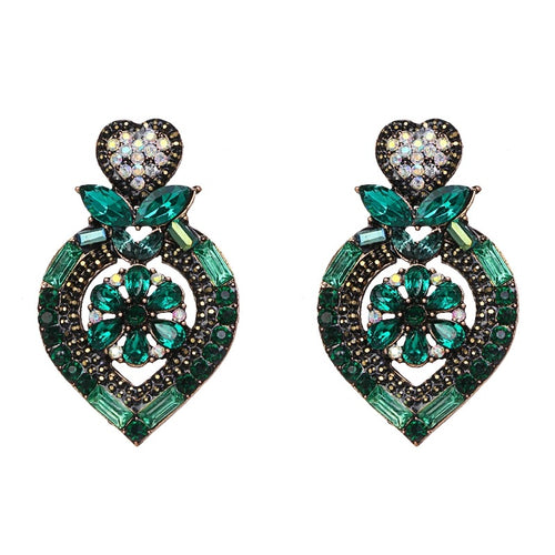 LOVIA- HEART CRYSTAL STUD EARRINGS- GREEN