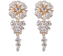 FLORRA- FLOWER LONG DANGLE RHINESTONE EARRINGS