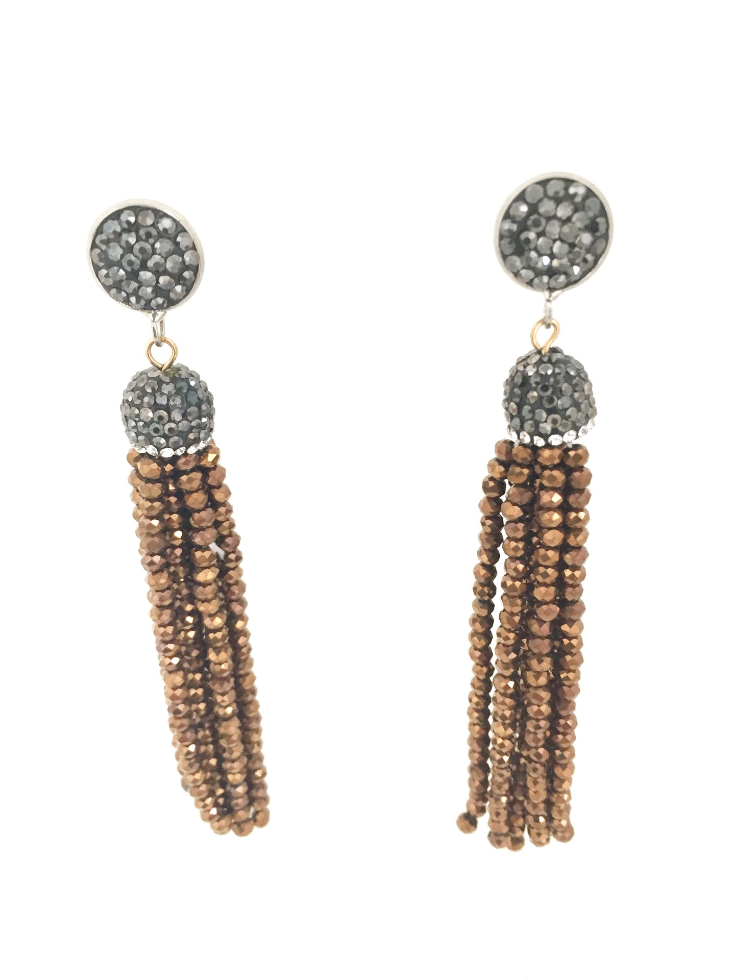 MOINETTE- CRYSTAL AND RHINESTONE EARRINGS -BRONZE