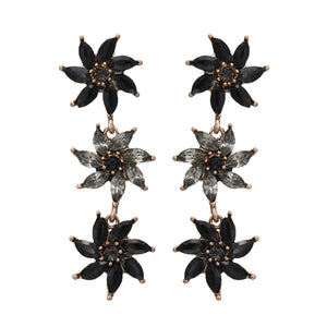 GARDENIA-  FLOWERS CRYSTAL EARRINGS -BLACK
