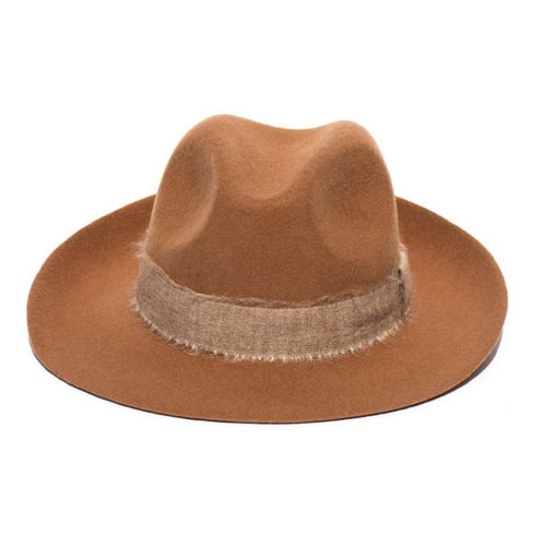 FEDORA- WOOL/RIBBON UNISEX HAT- TOFFEE