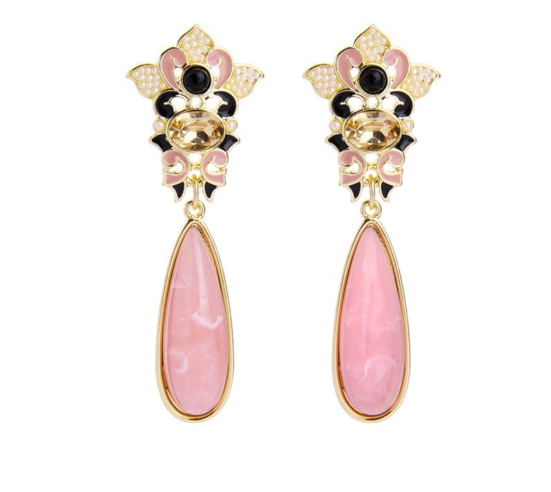COLLETTE-  PINK STONE LOOK TEAR DROP EARRINGS