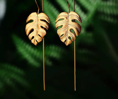 ELEFANTE- STERLING SILVER/GOLD PLATED LEAF DROP EARRINGS