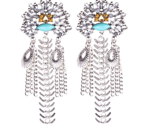 NIZA- FLOWER RHINESTONE CHAIN TASSEL EARRINGS
