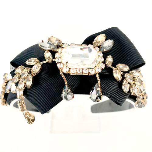 DOLCEMIA-BIG BOW, SILK CRYSTAL HEADBAND