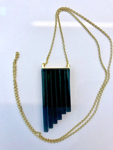 ROSA MENDEZ NEW YORK - 6 LAYER GLASS PENDANT NECKLACE- CARBON