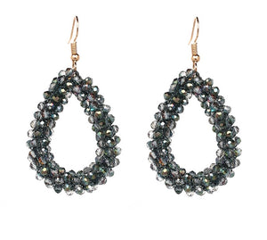 KENDI- CRYSTAL BEADED EARRINGS-  SILVERY GREEN