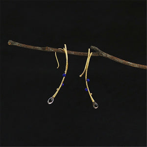 XYLO- LAPIS AND CRYSTAL GOLD OR SILVER EARRINGS