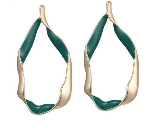 ROCHA- GOLD HOOPS WITH GREEN ENAMEL DETAIL