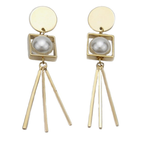 TETRA- PEARL BLOCK EARRINGS