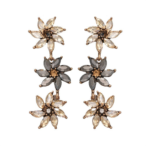 GARDENIA-CRYSTAL EARRINGS CHAMPAGNE