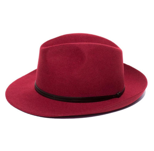 FEDORA- WOOL/LEATHER RIBBON UNISEX HAT-RUBY