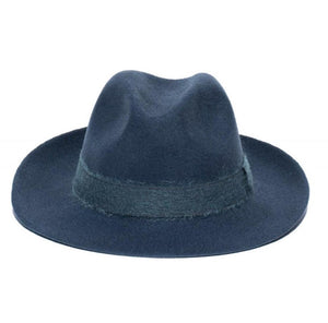 FEDORA- WOOL/RIBBON UNISEX HAT-BLUE JEAN