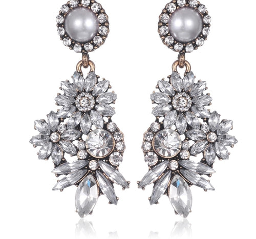 LEXA- RHINESTONE, PEARL DROP EARRINGS