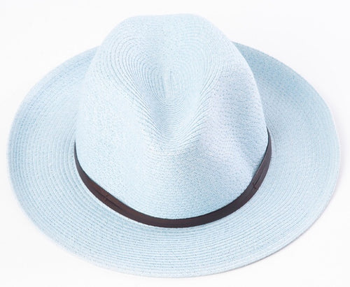 BORSALINO-LIGHT BLUE PAPER FABRIC HAT