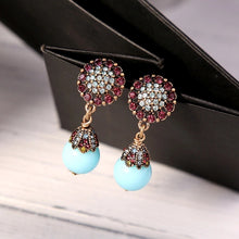 ZOE- CRYSTAL AND TEAL DROP EARRINGS