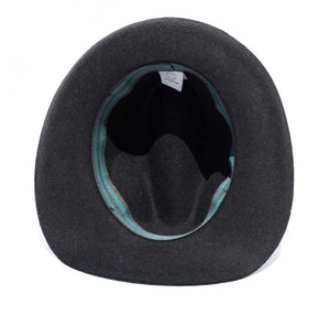 FEDORA WOOL/LEATHER RIBBON UNISEX HAT- CHARCOAL