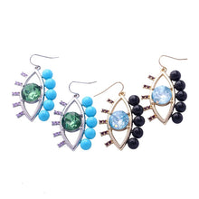 MATIAMOU- TWO COLOUR CRYSTAL EYE EARRINGS-BLUE