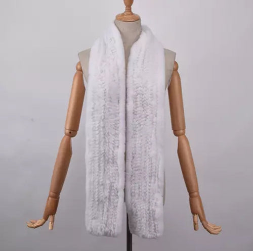 RABITTO- Rex Rabbit Fur Long Scarf -White