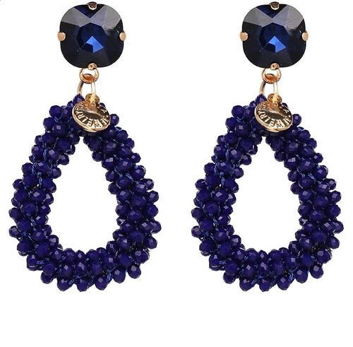 KENDI 2- CRYSTAL BEADED EARRINGS -BLUE
