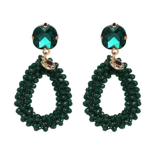 KENDI 2- CRYSTAL BEADED EARRINGS -GREEN