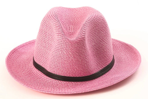 BORSALINO-POWDER PINK PAPER FABRIC HAT