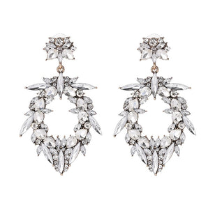 RADA- WHITE RHINESTONE WATER DROP EARRINGS